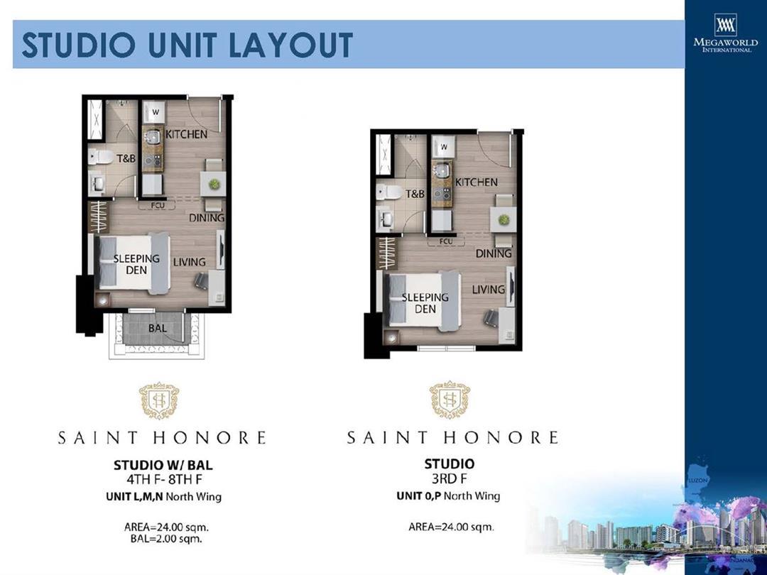 Saint Honore, Unit Layouts