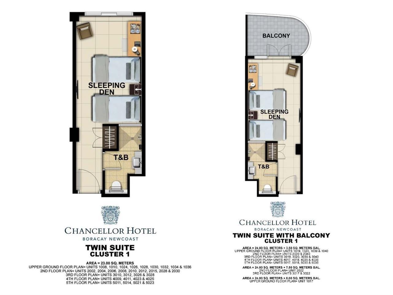 Chancellor Hotel, Unit Layout